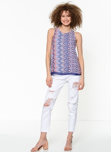 Fashion Friends Askılı Desenli Bluz Lacivert